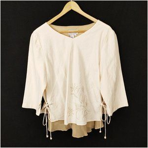 Adrianna Papell Blouse 14 Casual Cream Floral